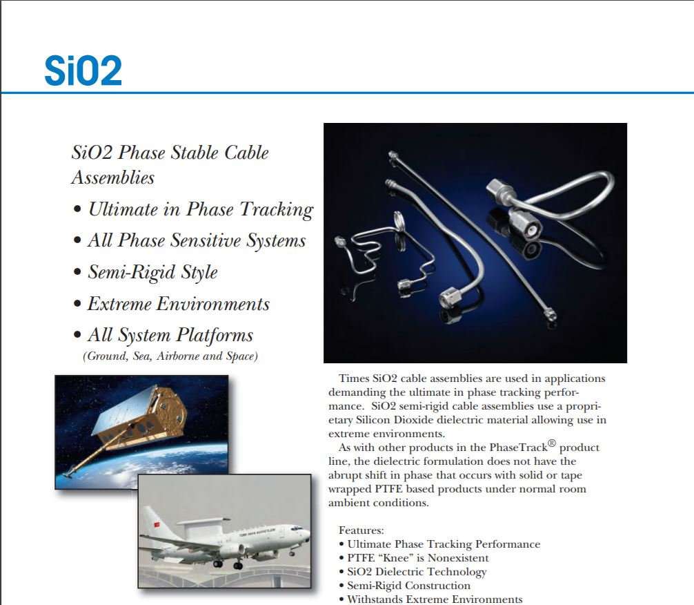 SiO2 Phase Stable Cable Assemblies